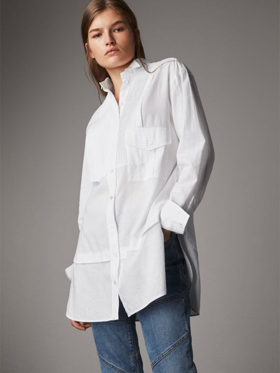 Pintuck Bib Wing Collar Longline Linen Cotton Shirt in White