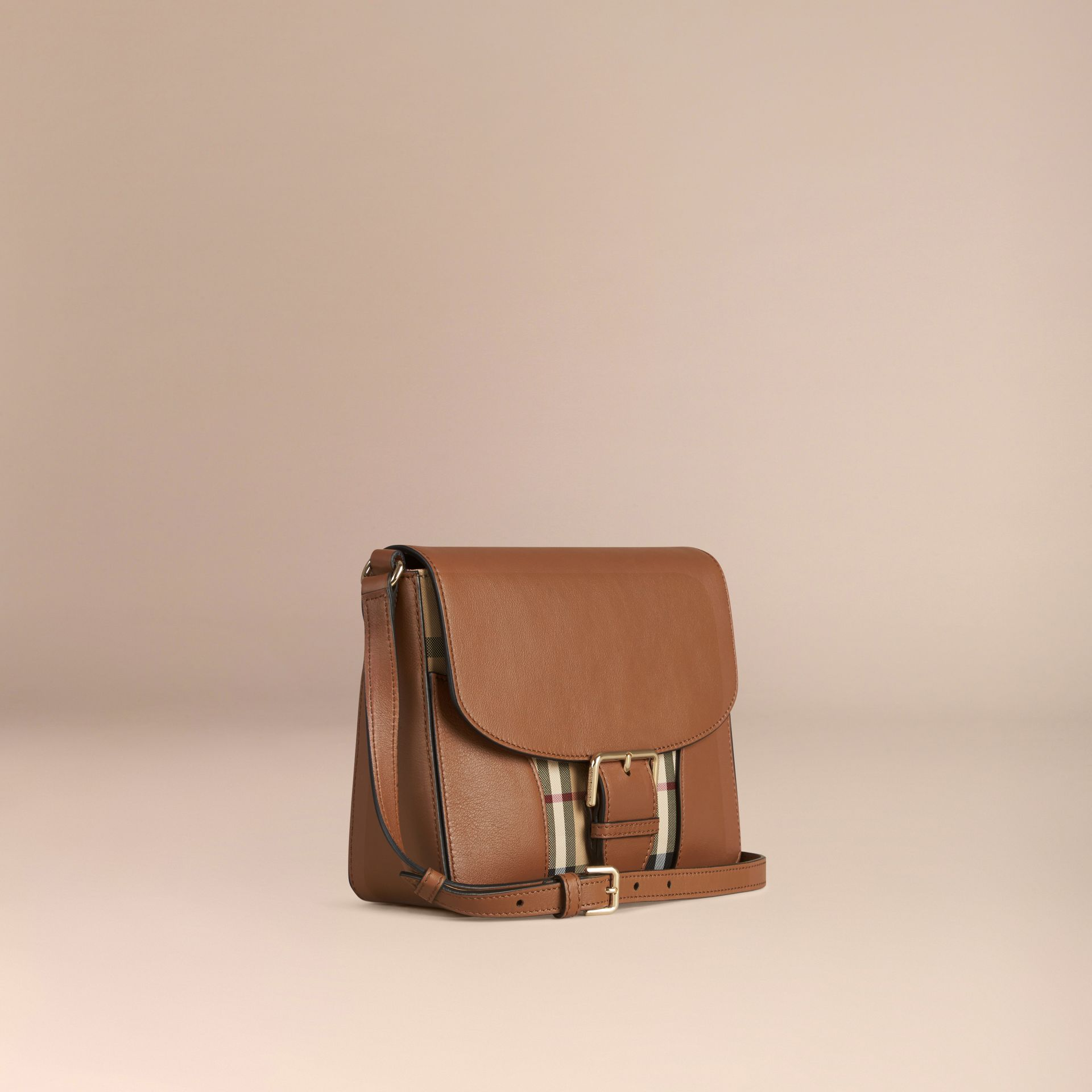 Honey/tan Small Horseferry Check and Leather Crossbody Bag Honey/tan - gallery image 6
