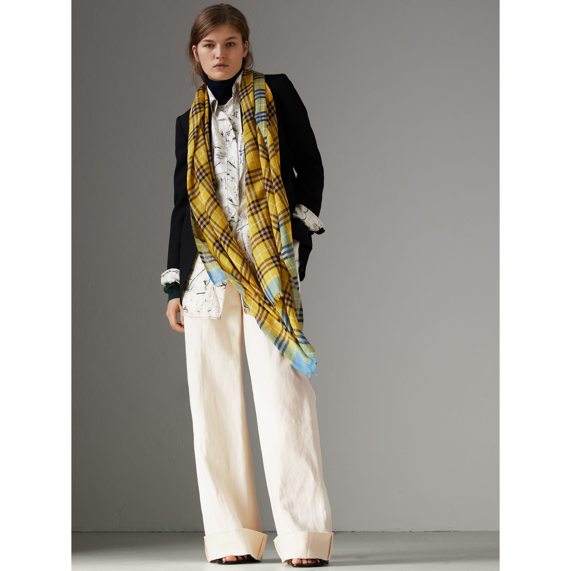 Check Wool Silk Scarf in Bright Yellow | Burberry United Kingdom - gallery image 2