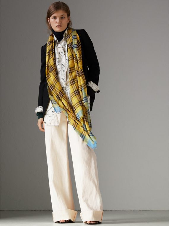 Check Wool Silk Scarf in Bright Yellow | Burberry - cell image 2