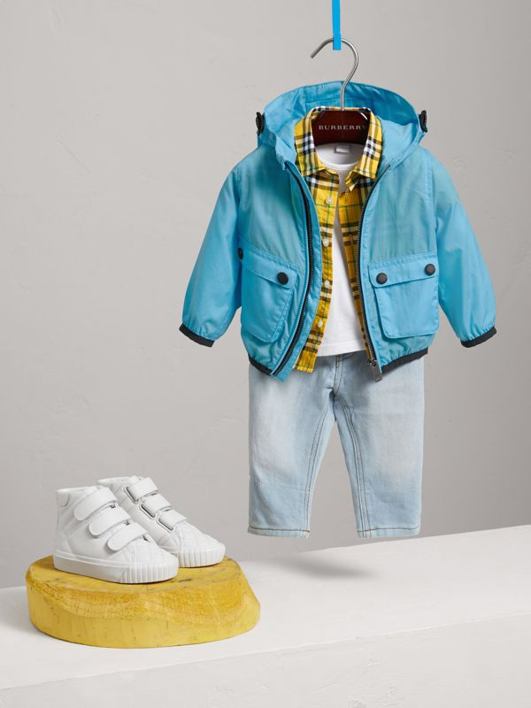Showerproof Hooded Jacket in Bright Turquoise - Children | Burberry - cell image 2