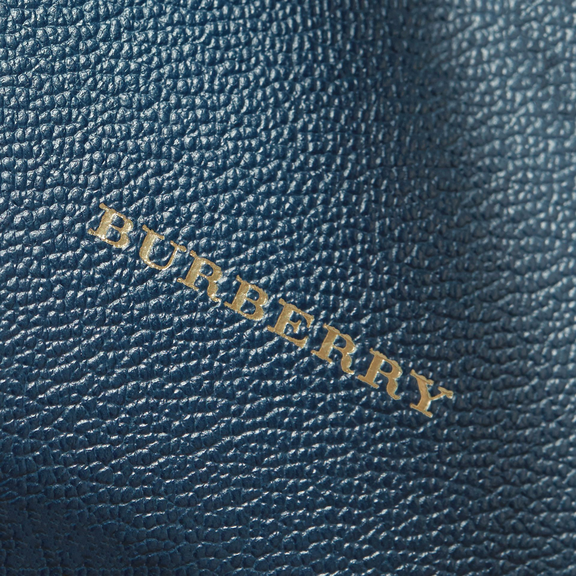 Buckle Detail Leather and House Check Crossbody Bag in Blue Carbon - Women | Burberry - gallery image 6