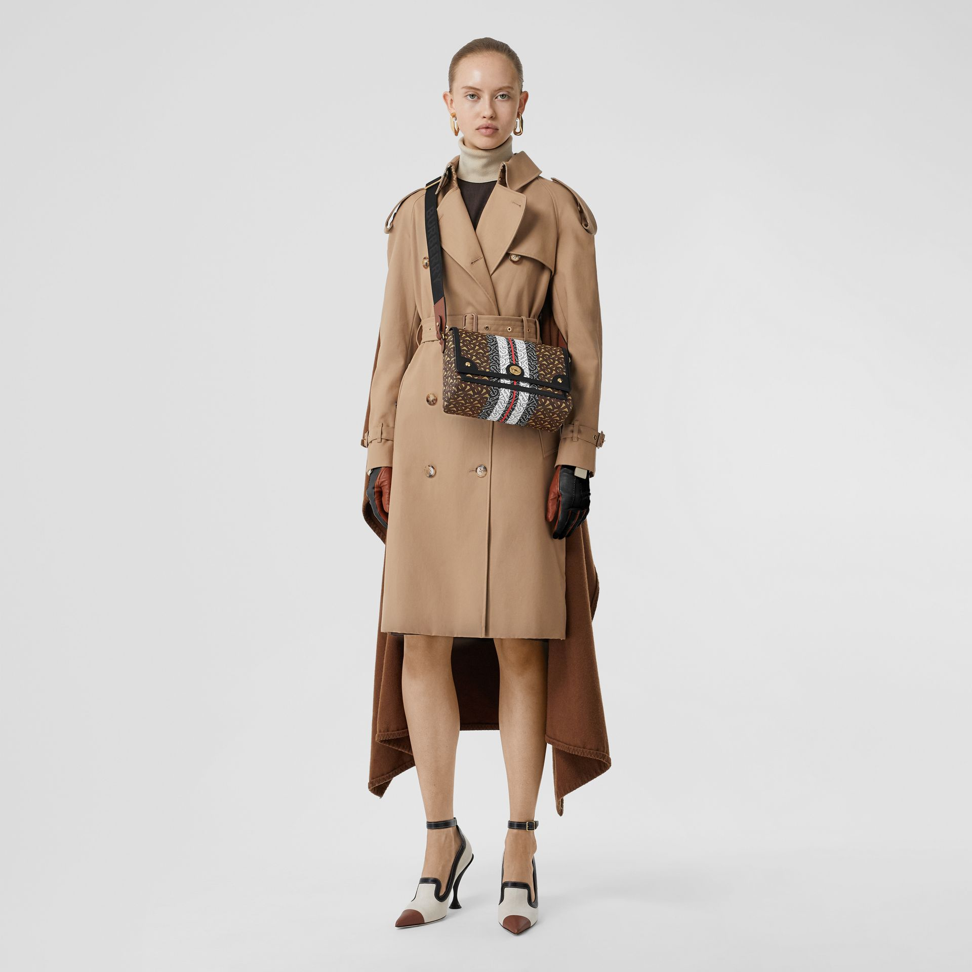 Monogram Stripe E-canvas Note Crossbody Bag in Bridle Brown - Women | Burberry - gallery image 8