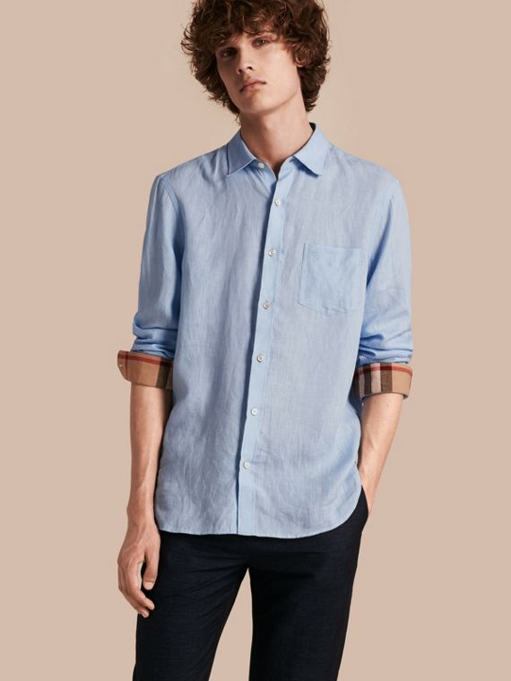 Check Detail Linen Shirt Pale Blue