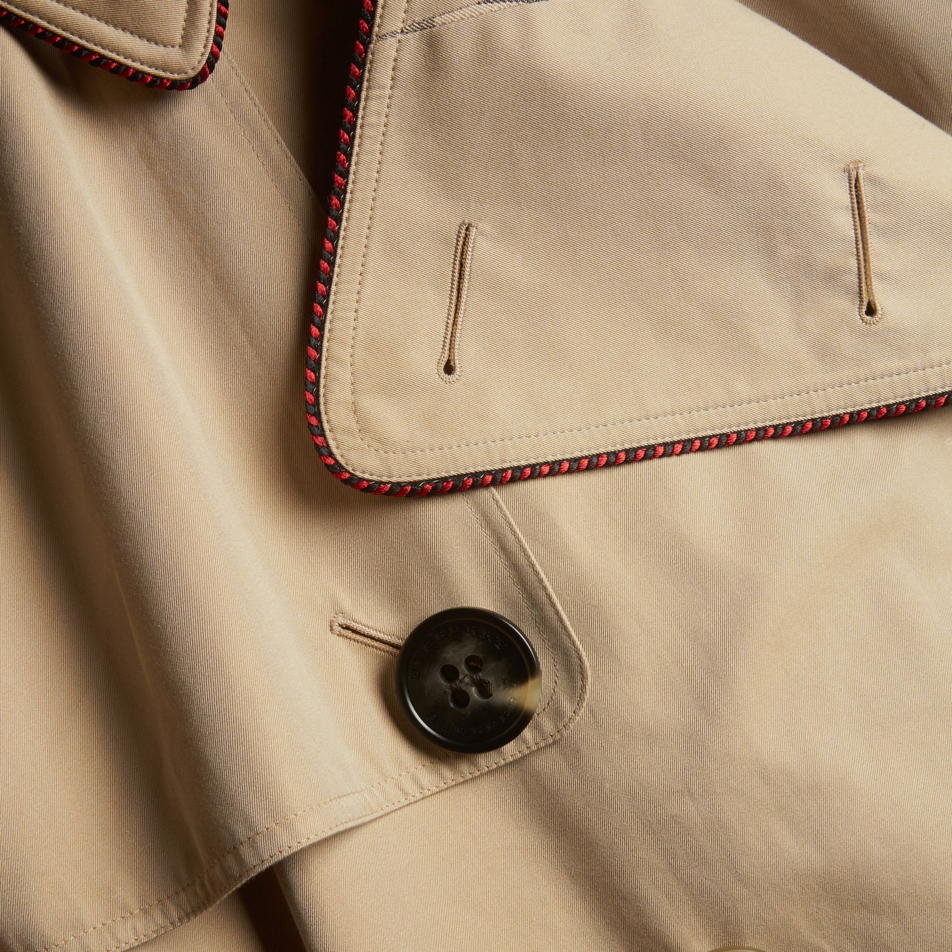 Honey Deconstructed Trench Coat with Regimental Piping - gallery image 2