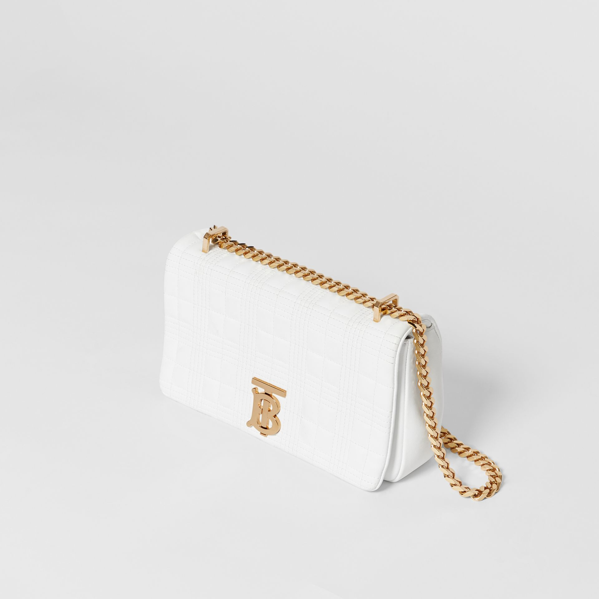 Small Quilted Check Lambskin Lola Bag in White | Burberry United Kingdom - gallery image 2