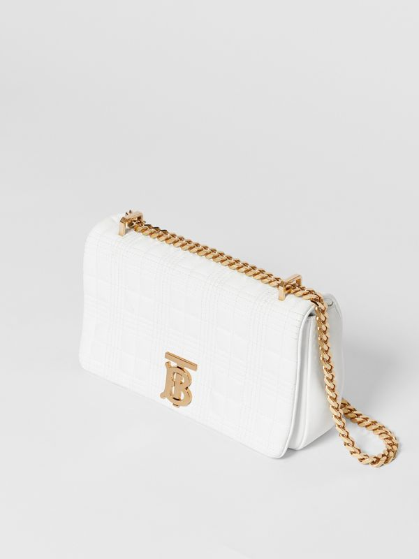 Small Quilted Check Lambskin Lola Bag in White | Burberry - cell image 2