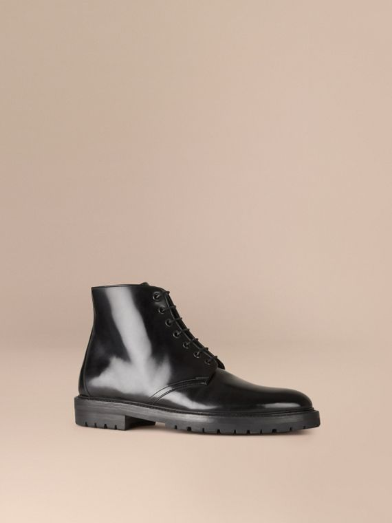 Lace-up Leather Boots Black