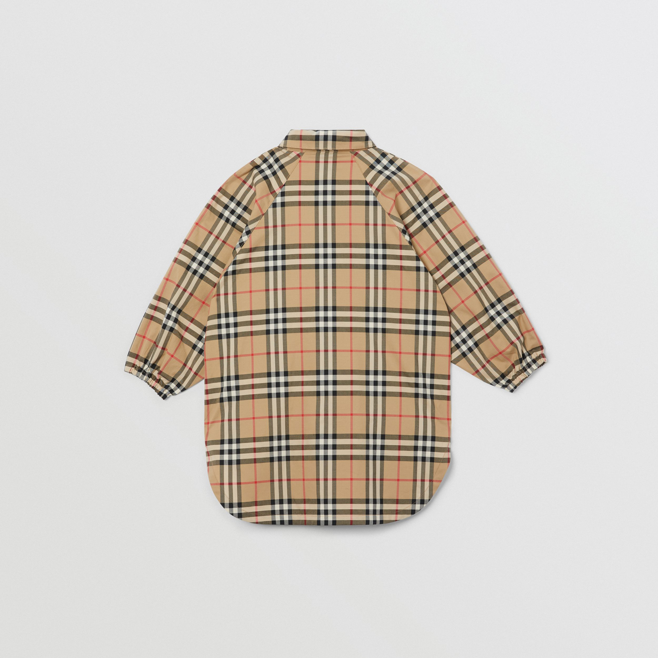 Vintage Check Cotton Shirt Dress in Archive Beige | Burberry - 4