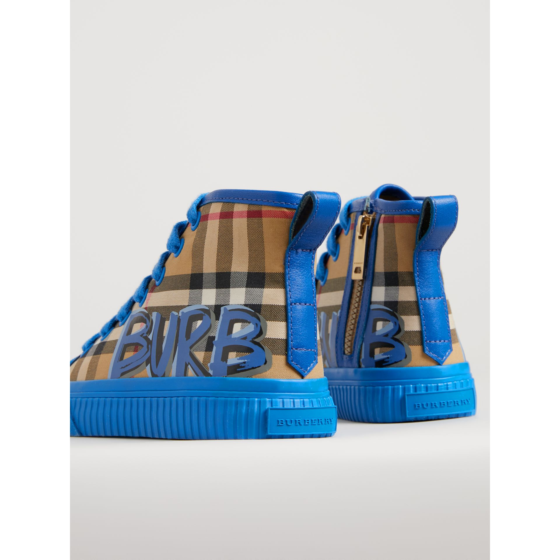 Graffiti Vintage Check High-top Sneakers in Bright Sky Blue | Burberry Singapore - gallery image 2
