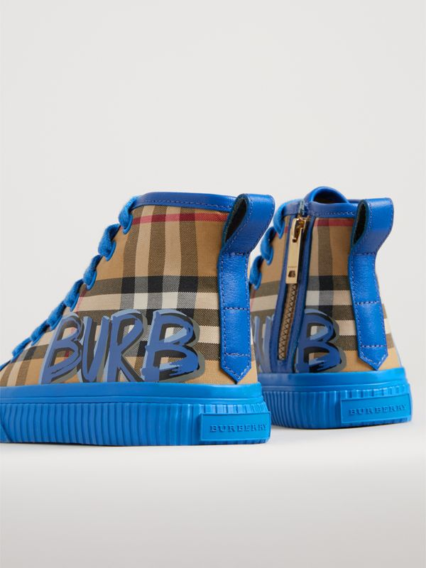 Graffiti Vintage Check High-top Sneakers in Bright Sky Blue | Burberry Singapore - cell image 2