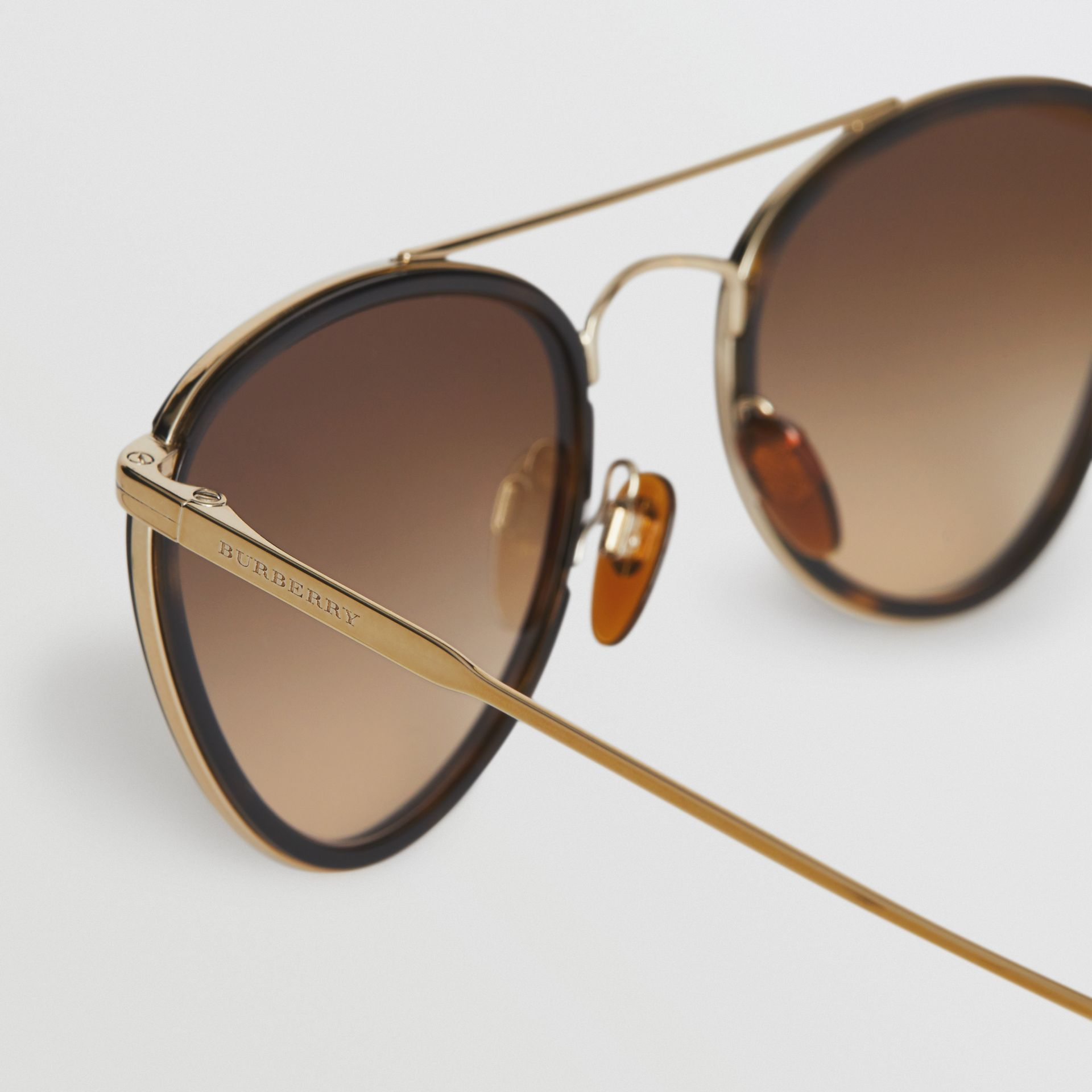 Pilot Sunglasses in Tortoise Shell - Women | Burberry - gallery image 1