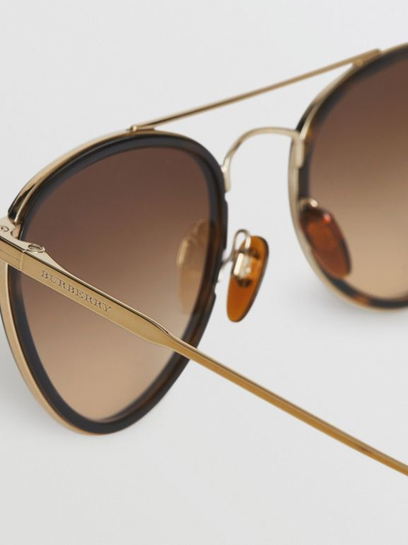 Pilot Sunglasses in Tortoise Shell - Women | Burberry - cell image 1