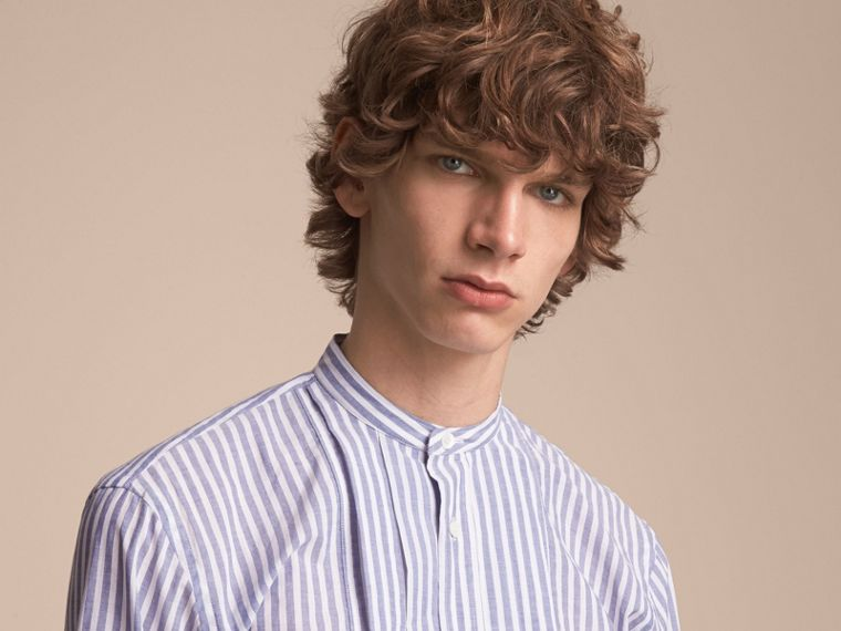 Unisex Pleated Bib Striped Cotton Shirt - cell image 4