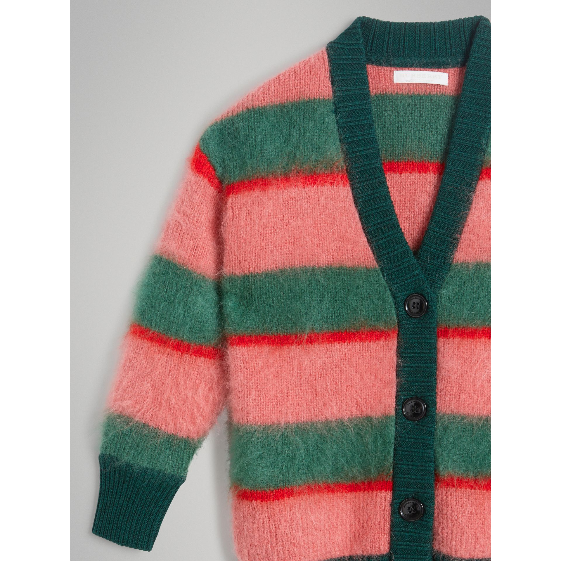 Tri-tone Striped Mohair Blend Cardigan in Dark Forest Green - Girl | Burberry - gallery image 5