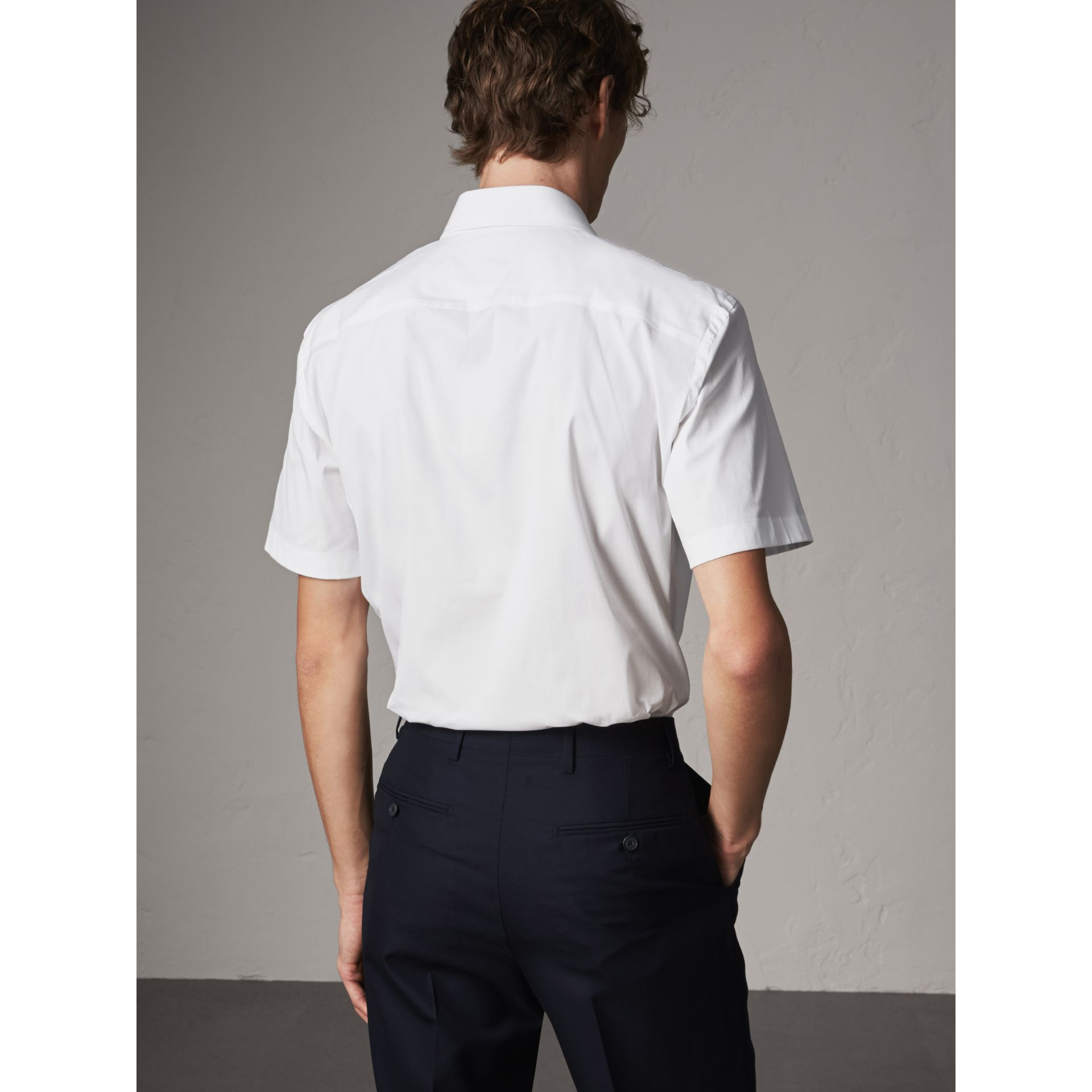 Modern Fit Short-sleeved Stretch Cotton Shirt in White - Men | Burberry - gallery image 3