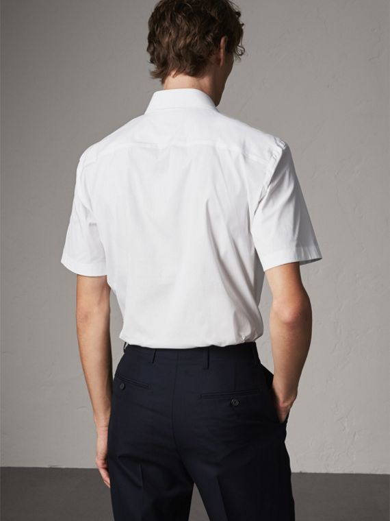 Modern Fit Short-sleeved Stretch Cotton Shirt in White - Men | Burberry - cell image 2