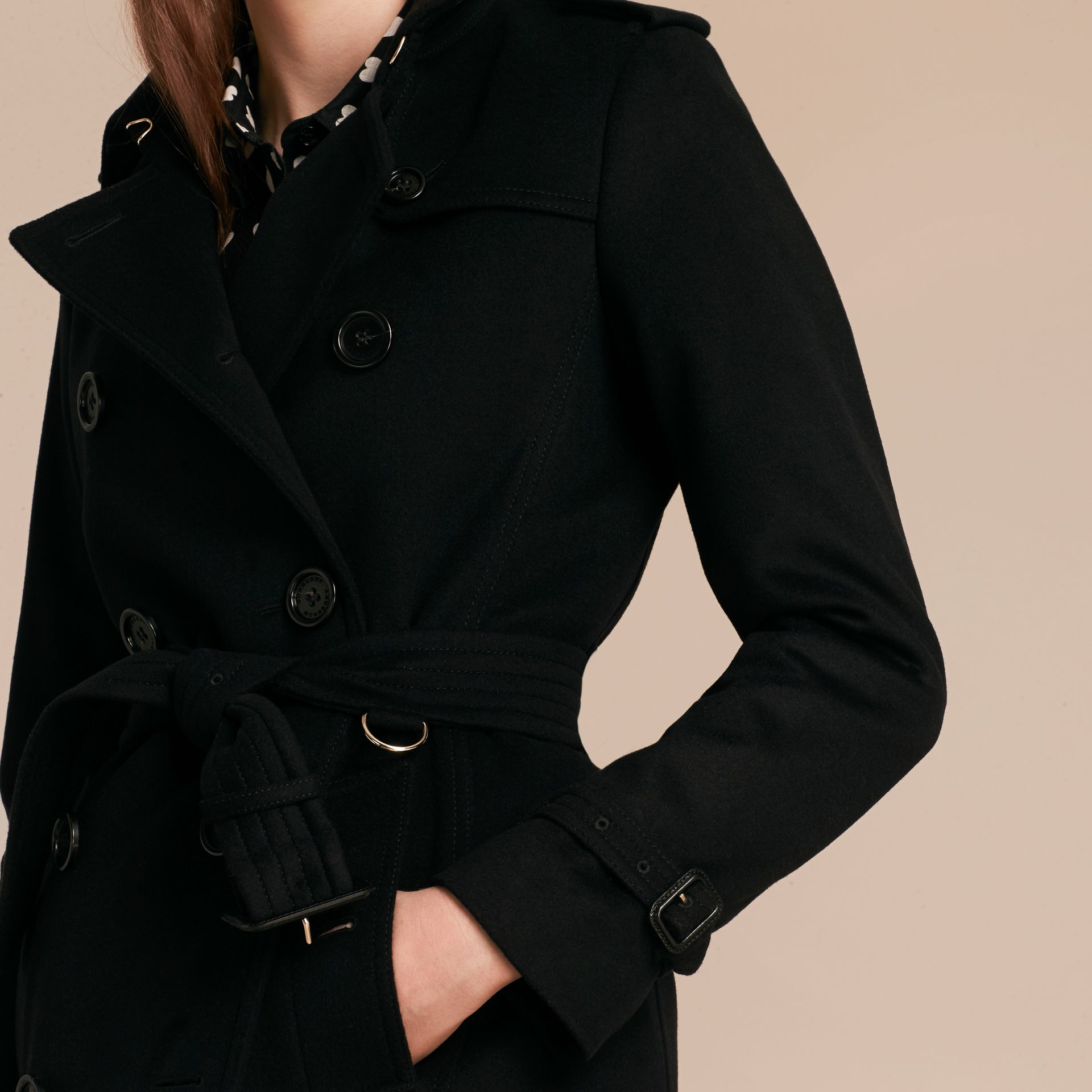 Black Wool Cashmere Trench Coat Black - gallery image 6