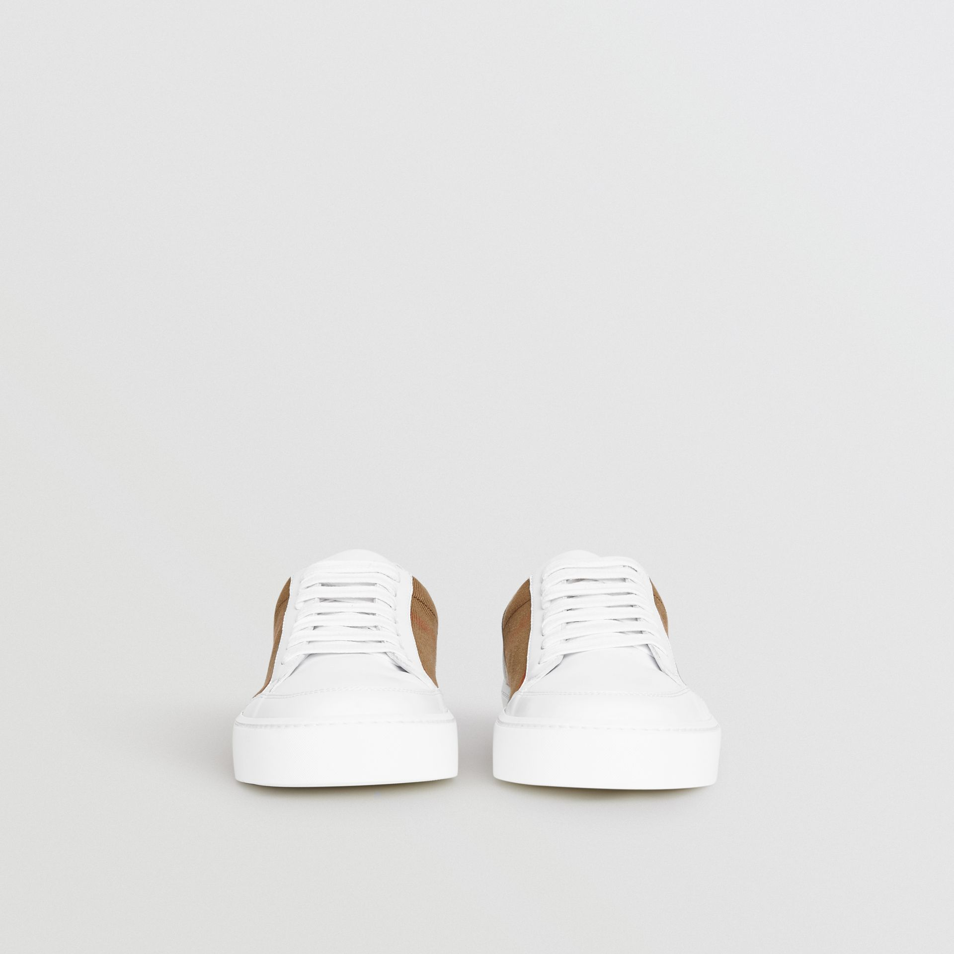 Check Detail Leather Sneakers in House Check/ Optic White - Women | Burberry Canada - gallery image 3