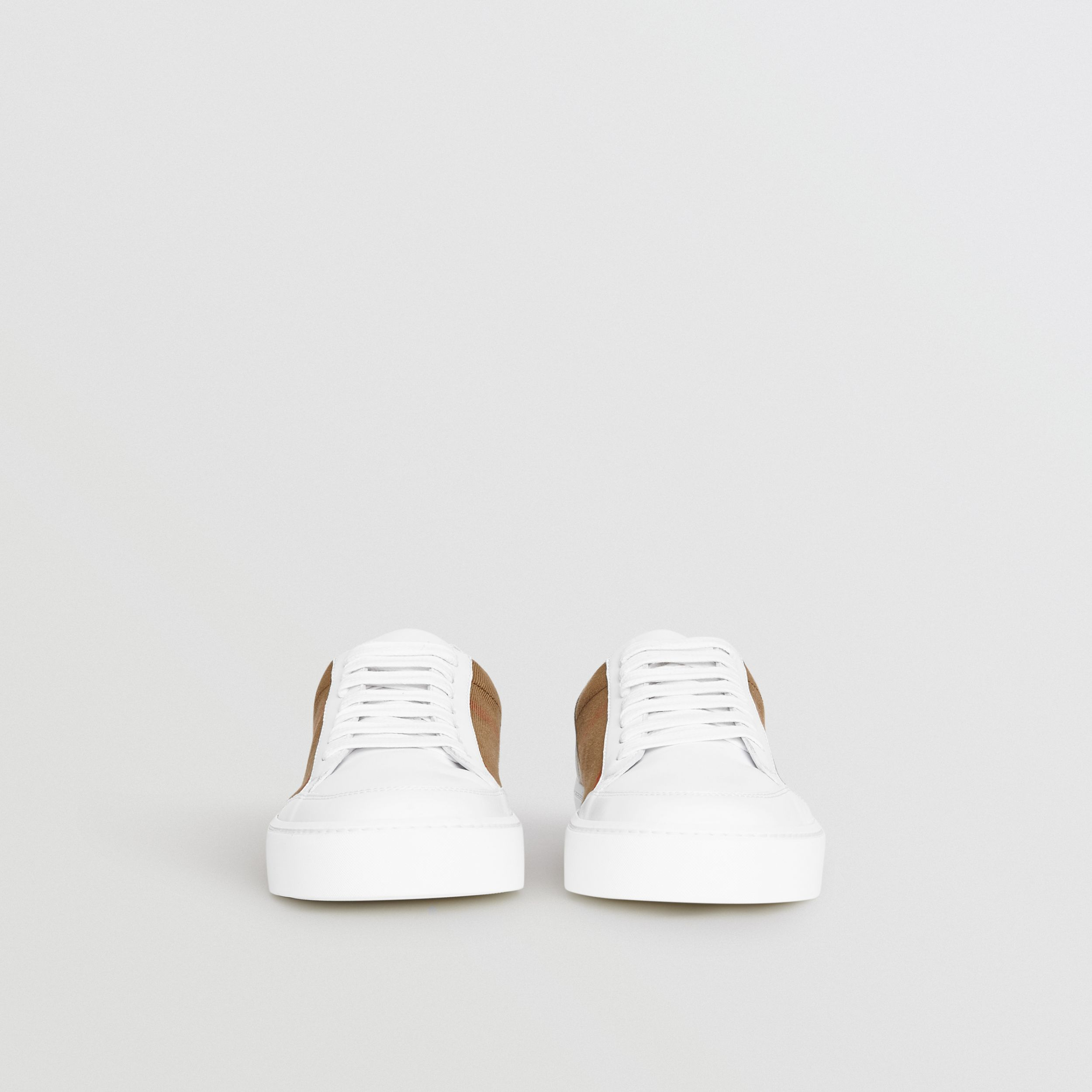 Check Detail Leather Sneakers in House Check/ Optic White - Women | Burberry United Kingdom - 4