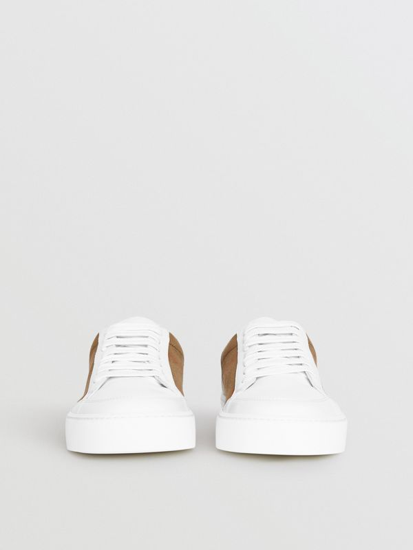 Check Detail Leather Sneakers in House Check/ Optic White - Women | Burberry Australia - cell image 3