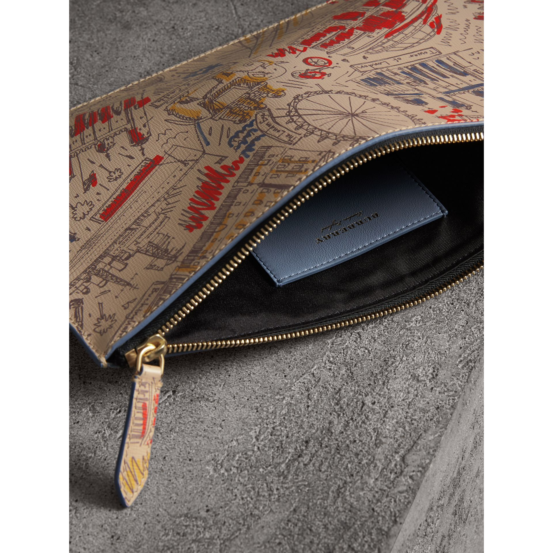 London Print Leather Zip Pouch in Multicolour | Burberry - gallery image 5