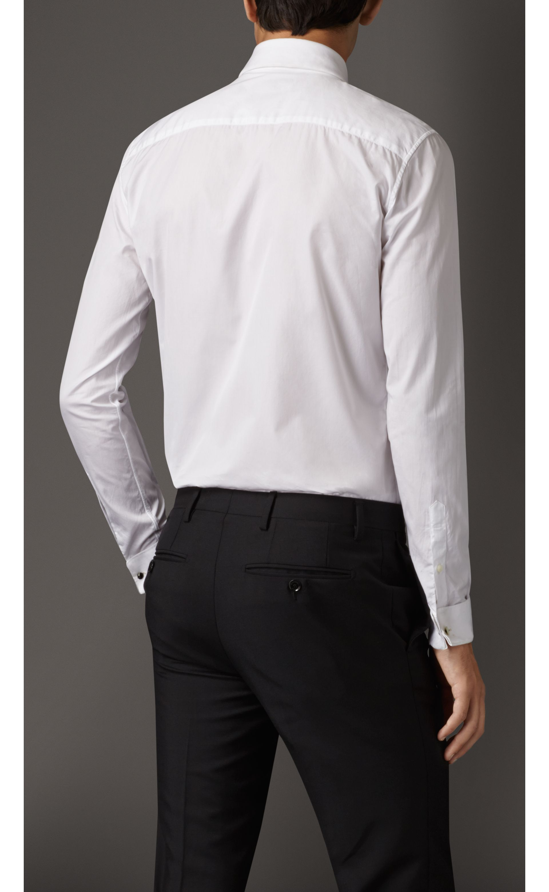Slim Fit Cotton Poplin Dress Shirt in White - Men | Burberry - gallery image 1