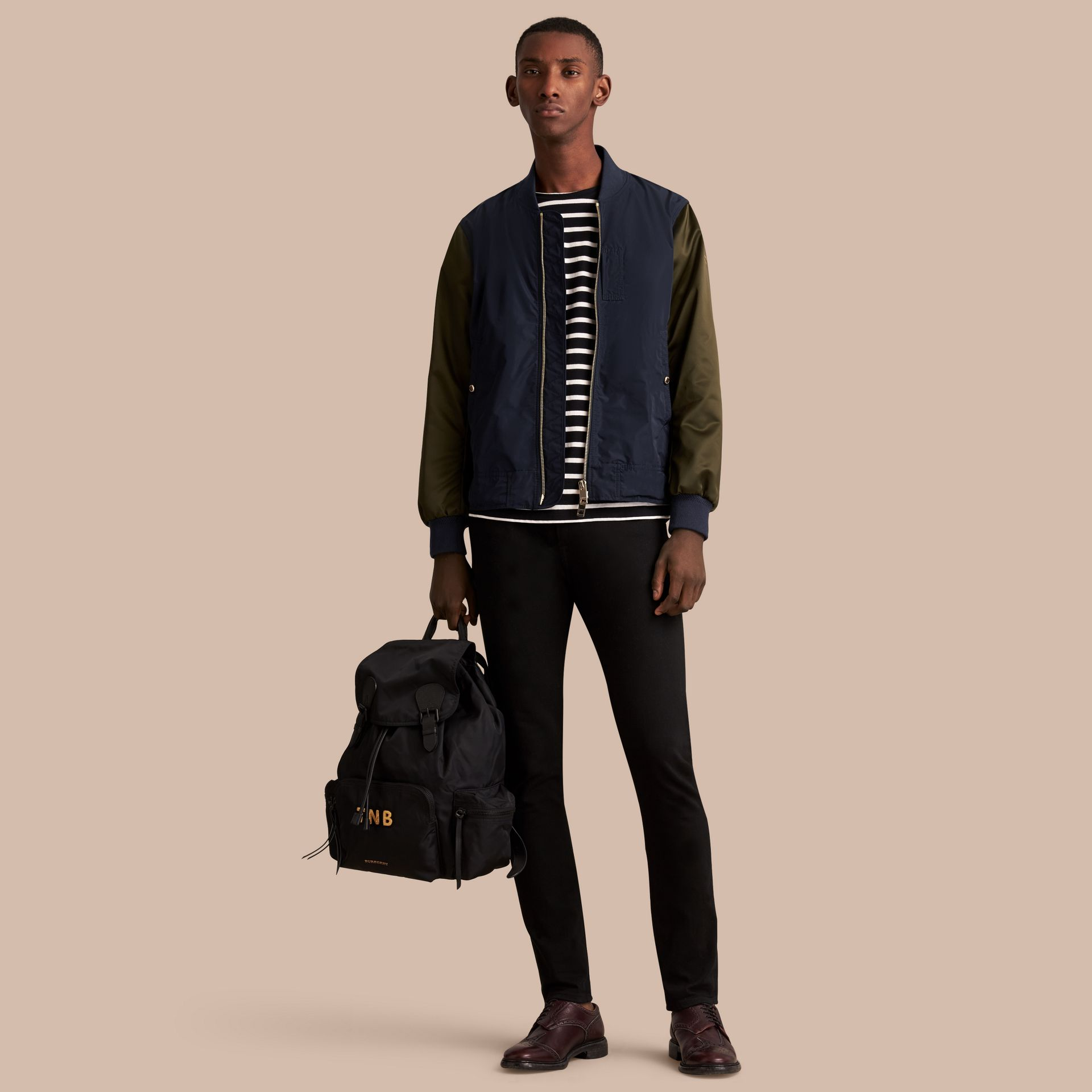 Two-tone Shape-memory Taffeta Bomber Jacket in Ink - Men | Burberry - gallery image 1