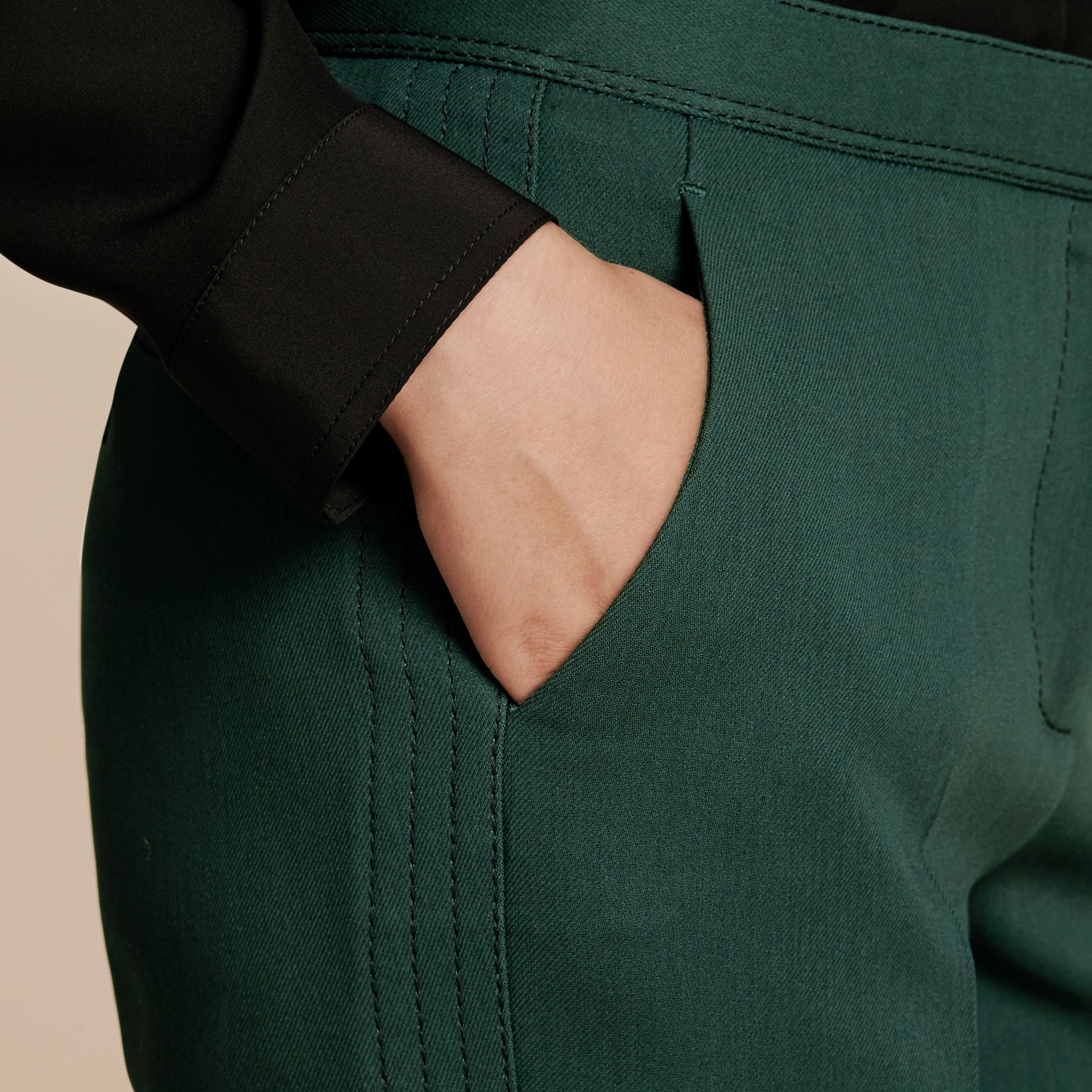Deep green Cropped Tailored Trousers Deep Green - gallery image 4