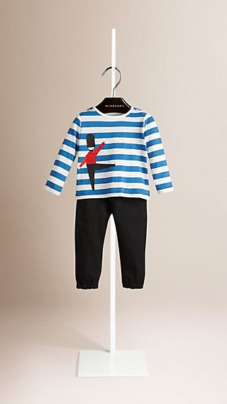 Guardsman Graphic Striped Cotton T-shirt