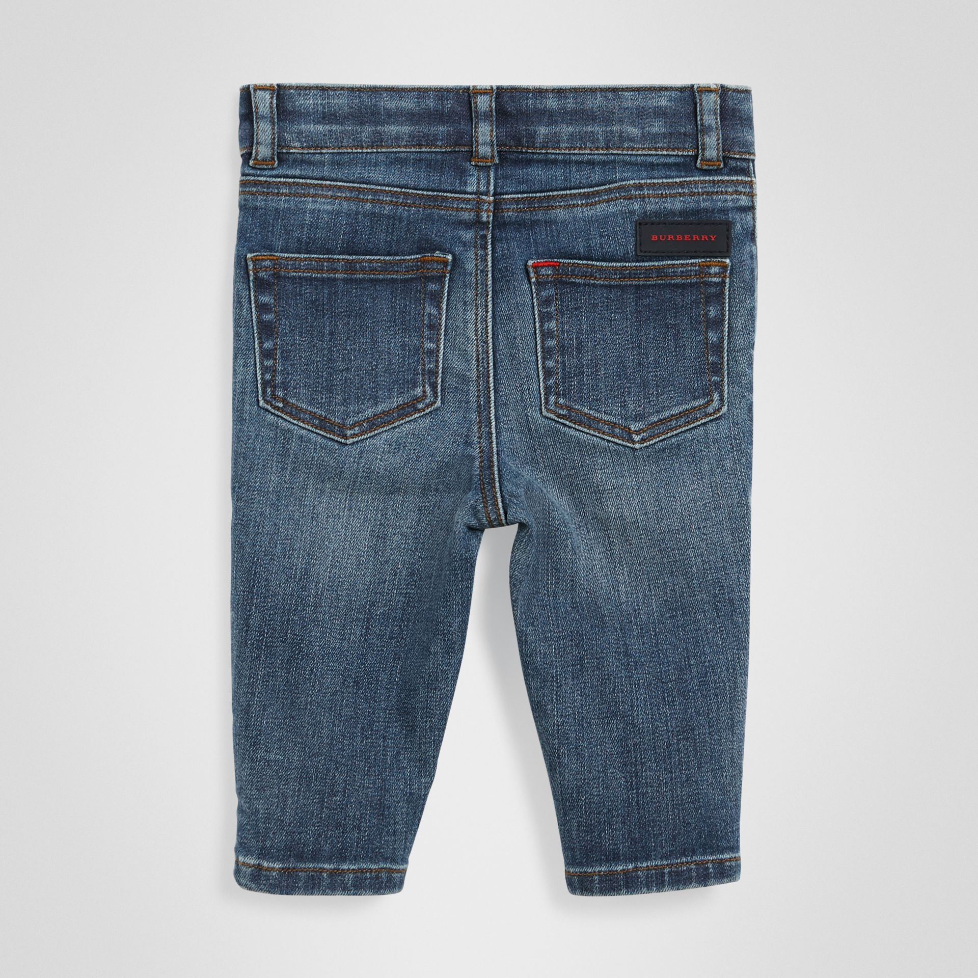 Skinny Fit Stretch Denim Jeans in Mid Indigo - Children | Burberry Singapore - gallery image 3