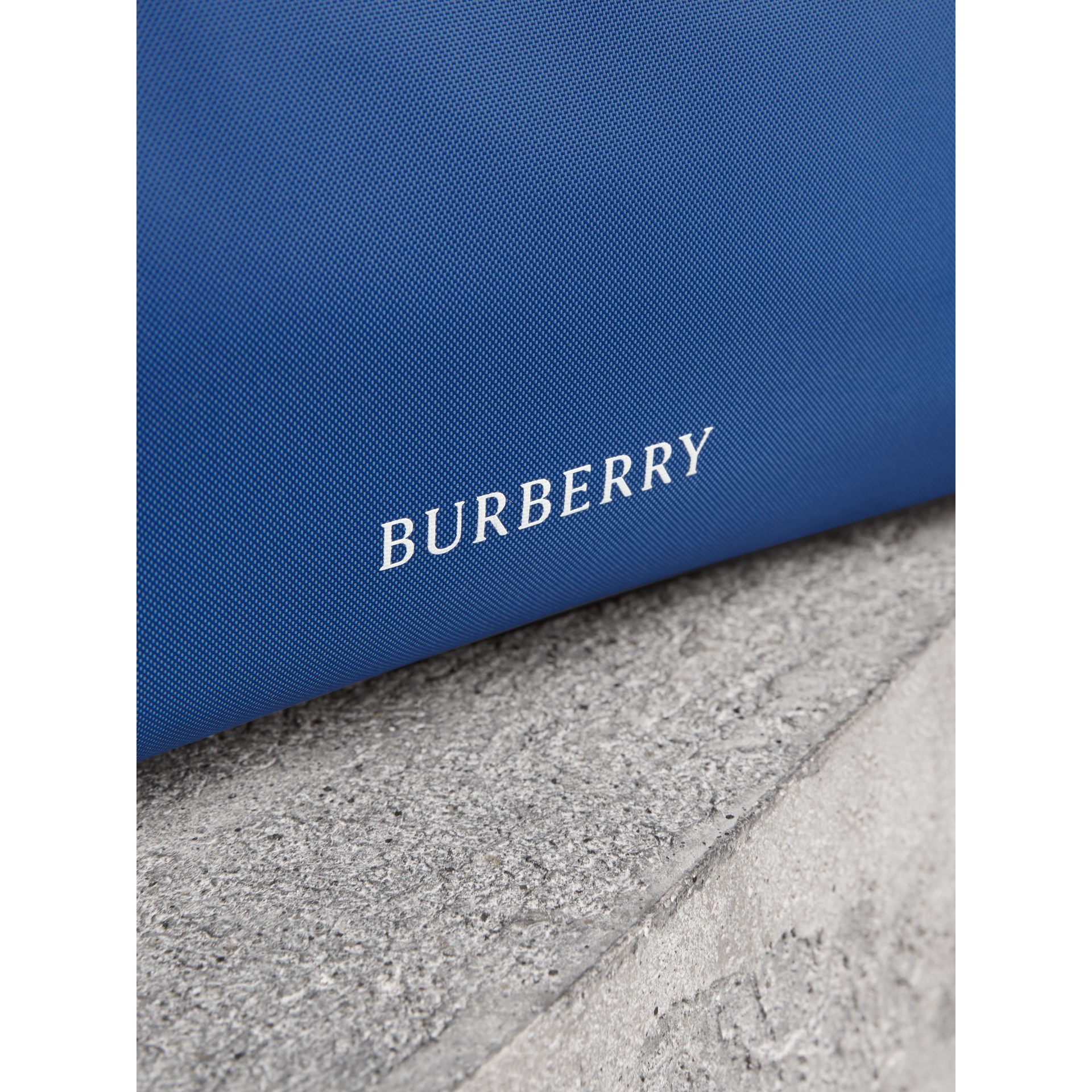 Heritage Ribbon Detail Nylon Pouch in Dark Canvas Blue | Burberry - gallery image 1
