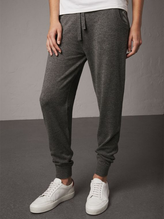 Check Detail Wool Cashmere Sweatpants in Mid Grey Melange