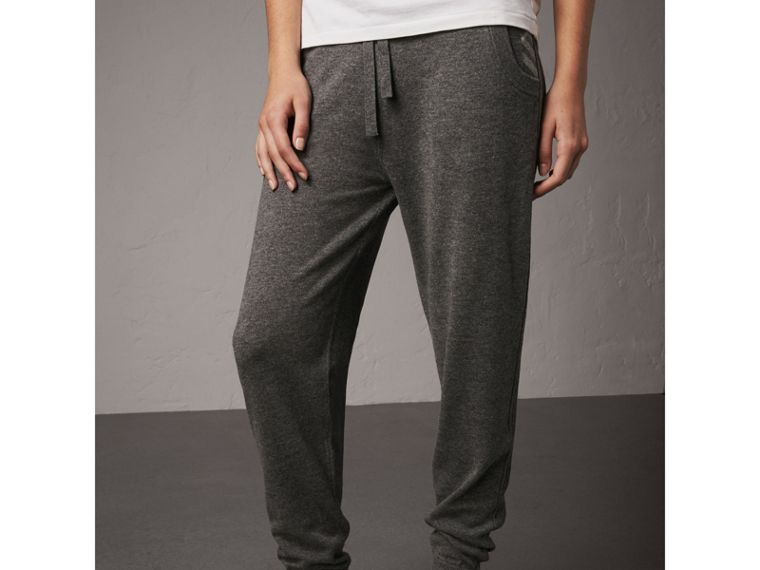 Check Detail Wool Cashmere Sweatpants in Mid Grey Melange - Women | Burberry - cell image 4