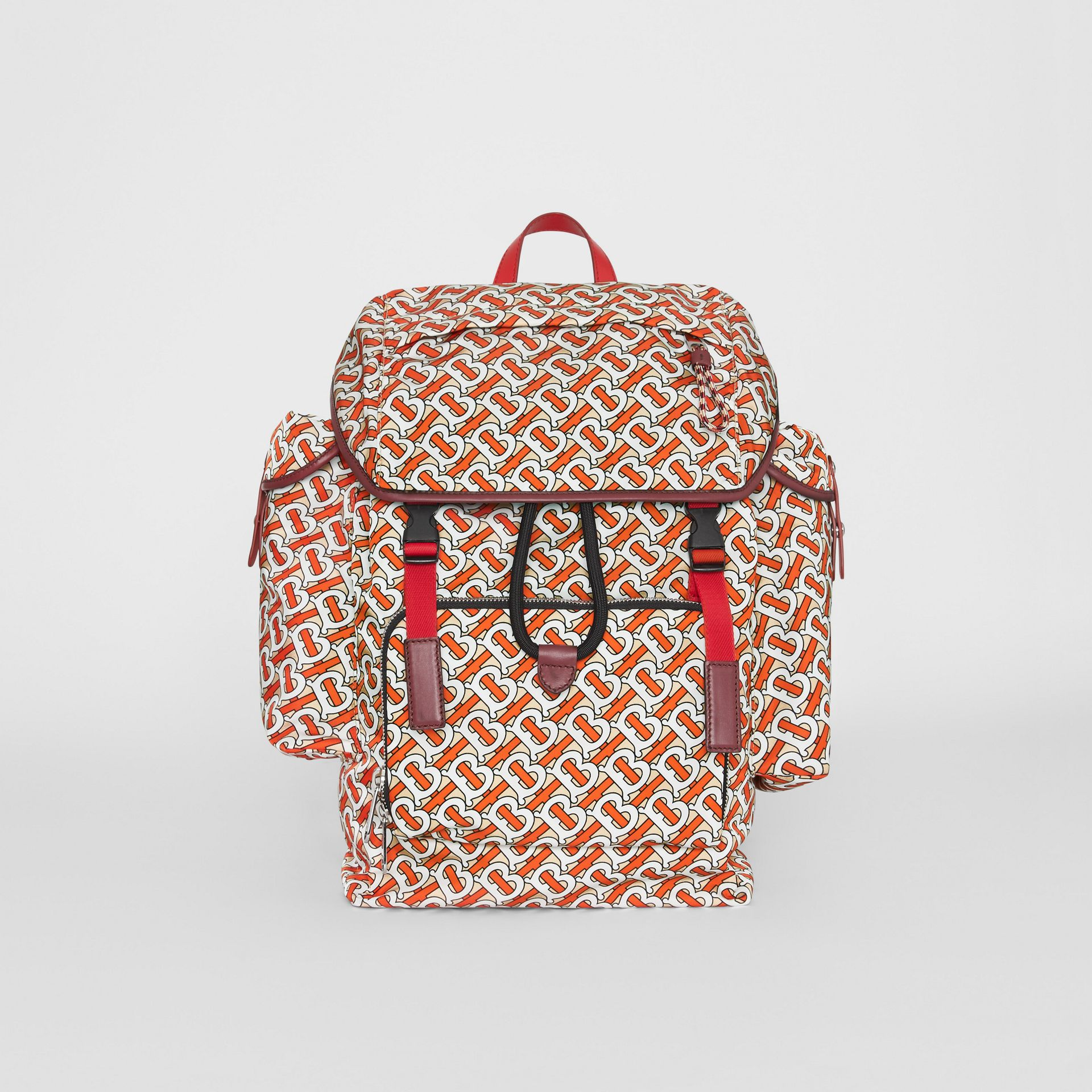 Medium Leather Trim Monogram Print Backpack in Vermilion - Men | Burberry Hong Kong - gallery image 0