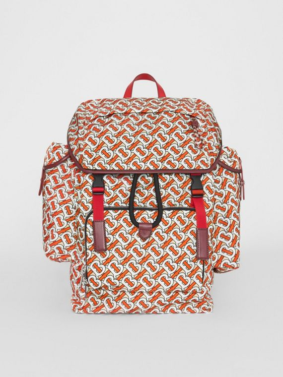 Medium Leather Trim Monogram Print Backpack in Vermilion