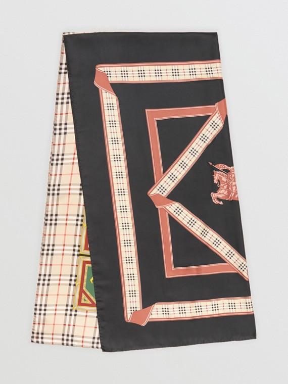 Sciarpa in seta con motivi d'archivio (Multicolore)