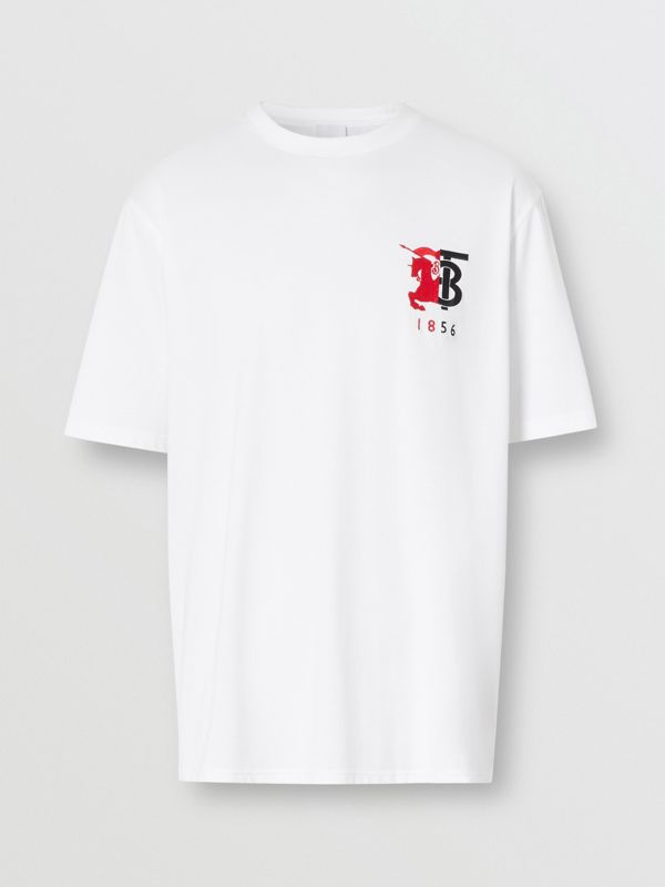Contrast Logo Graphic Cotton T-shirt in White - Men | Burberry - cell image 3