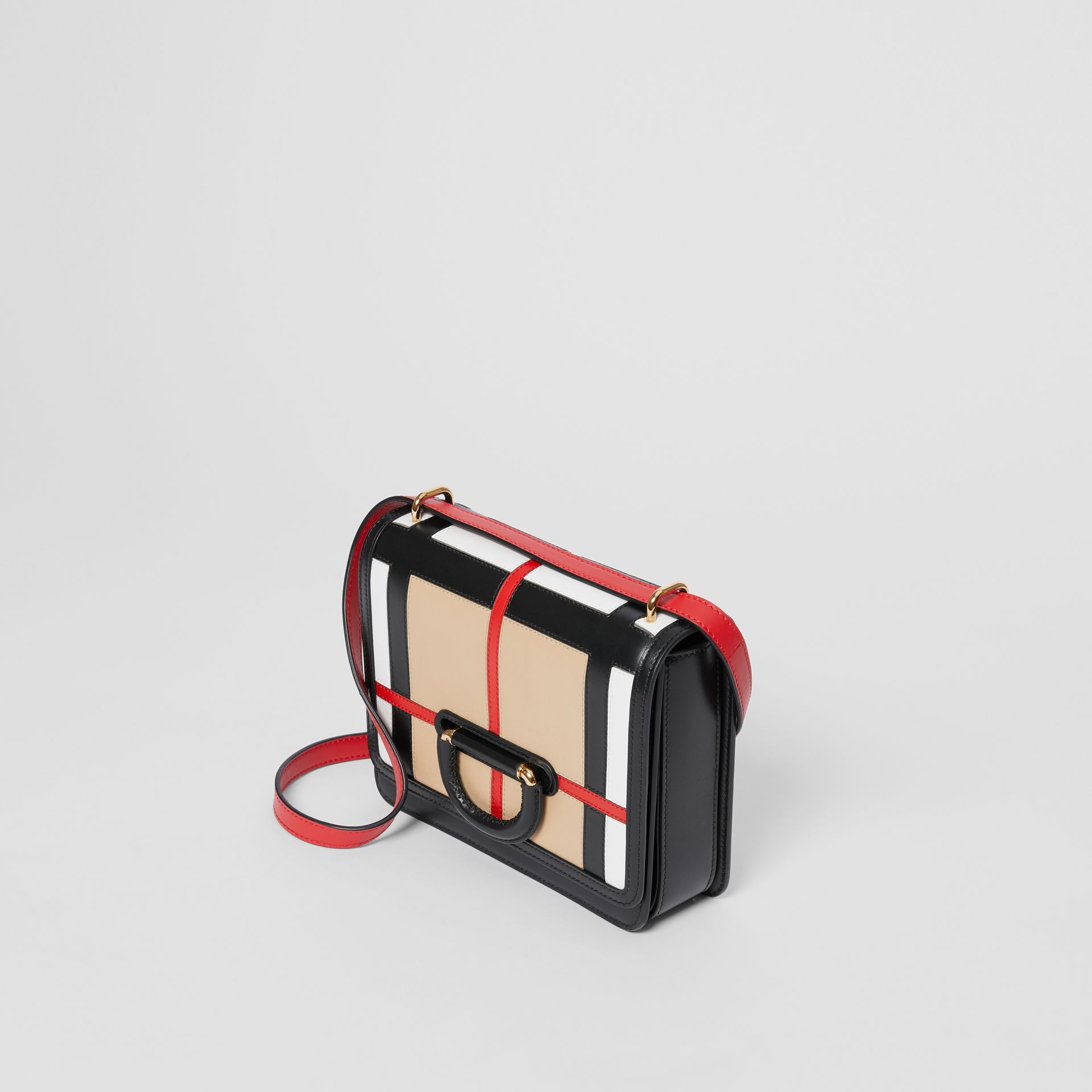 The Small Check Intarsia Leather D-ring Bag in Black - Women | Burberry United Kingdom - gallery image 2