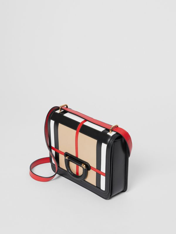 The Small Check Intarsia Leather D-ring Bag in Black - Women | Burberry United Kingdom - cell image 2