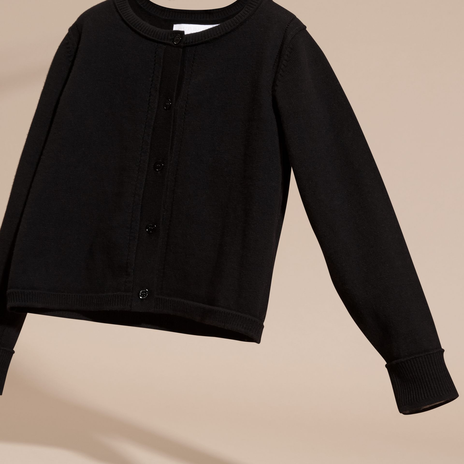 Check Cuff Cotton Knit Cardigan in Black - Girl | Burberry - gallery image 3