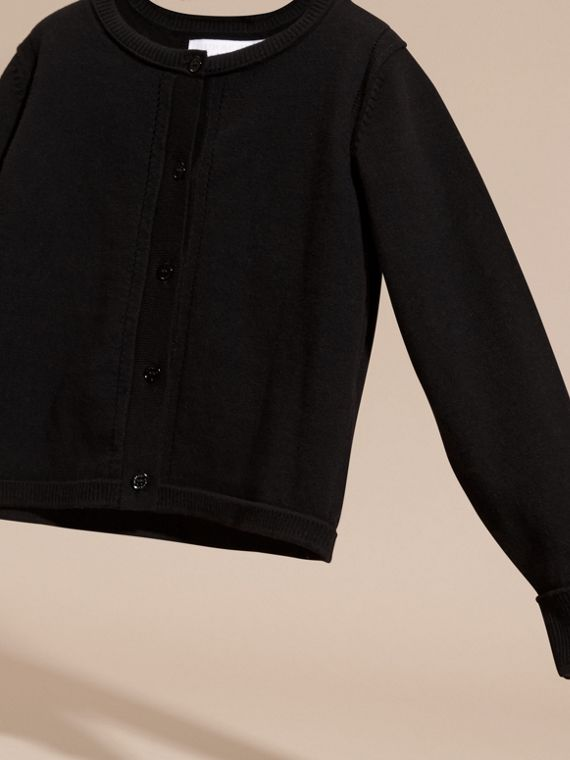 Check Cuff Cotton Knit Cardigan in Black - Girl | Burberry - cell image 2