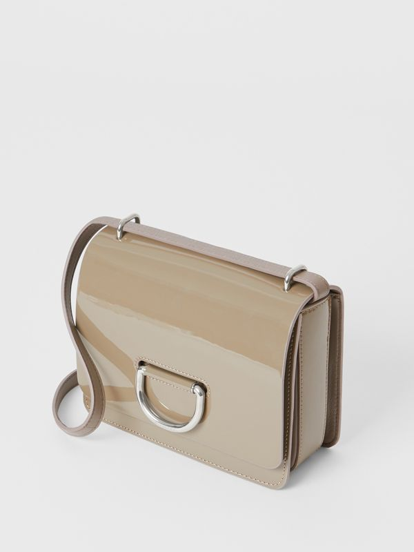 The Small Patent Leather D-ring Bag in Taupe Grey - Women | Burberry - cell image 3