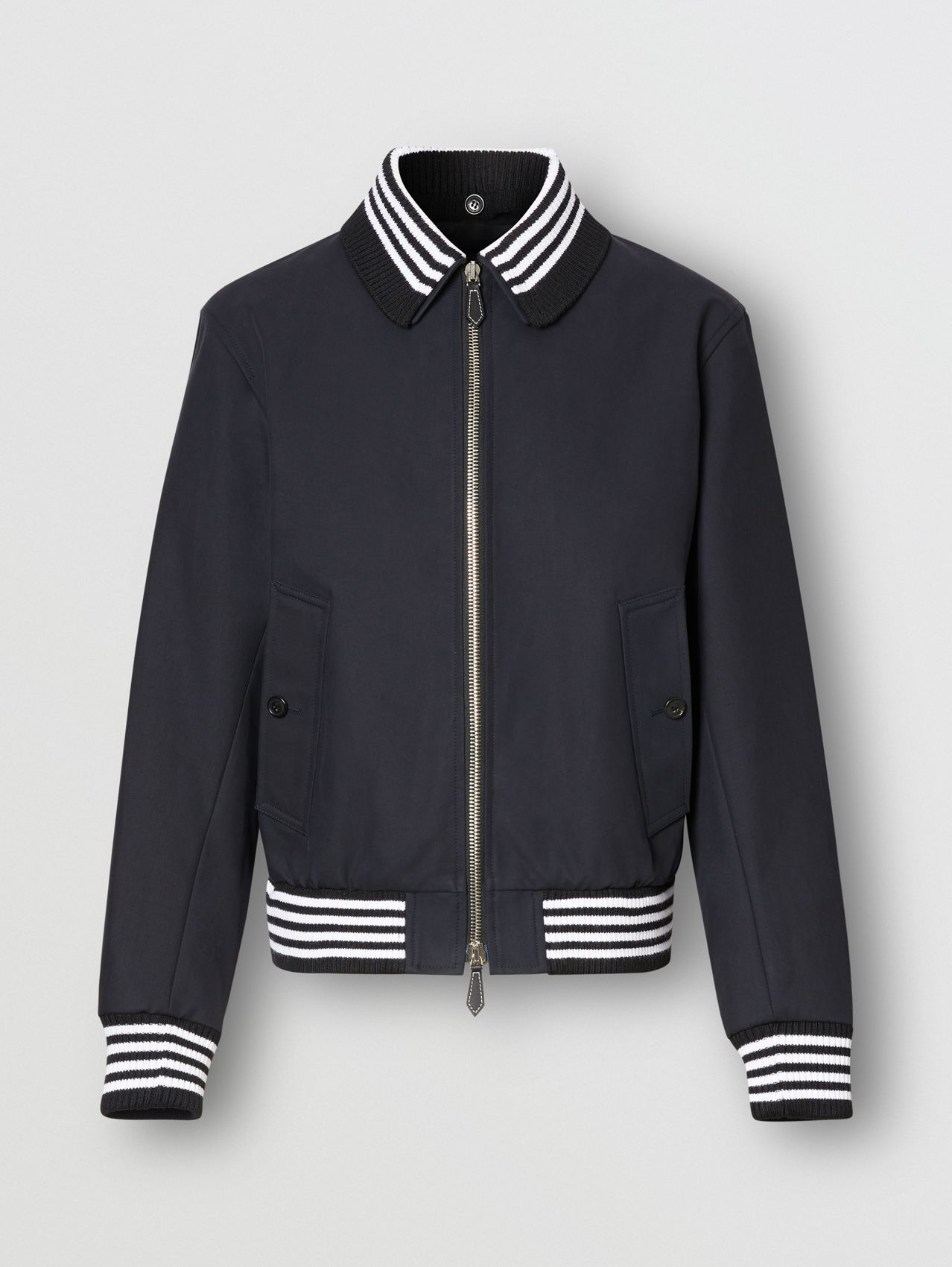 Detachable Knit Collar Cotton Bomber Jacket in Navy