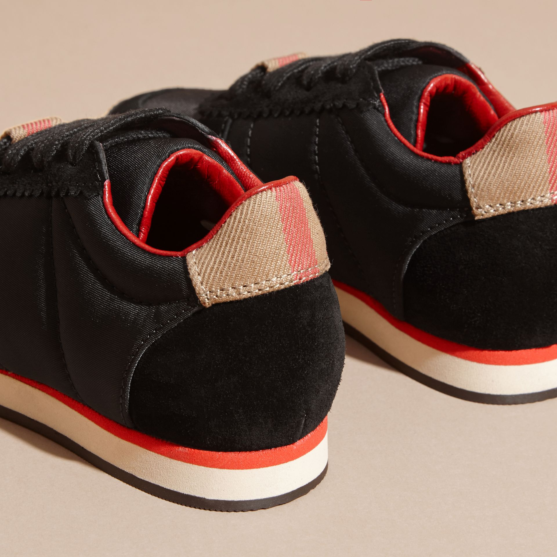 House Check Trim Suede and Technical Nylon Trainers in Black | Burberry - gallery image 3
