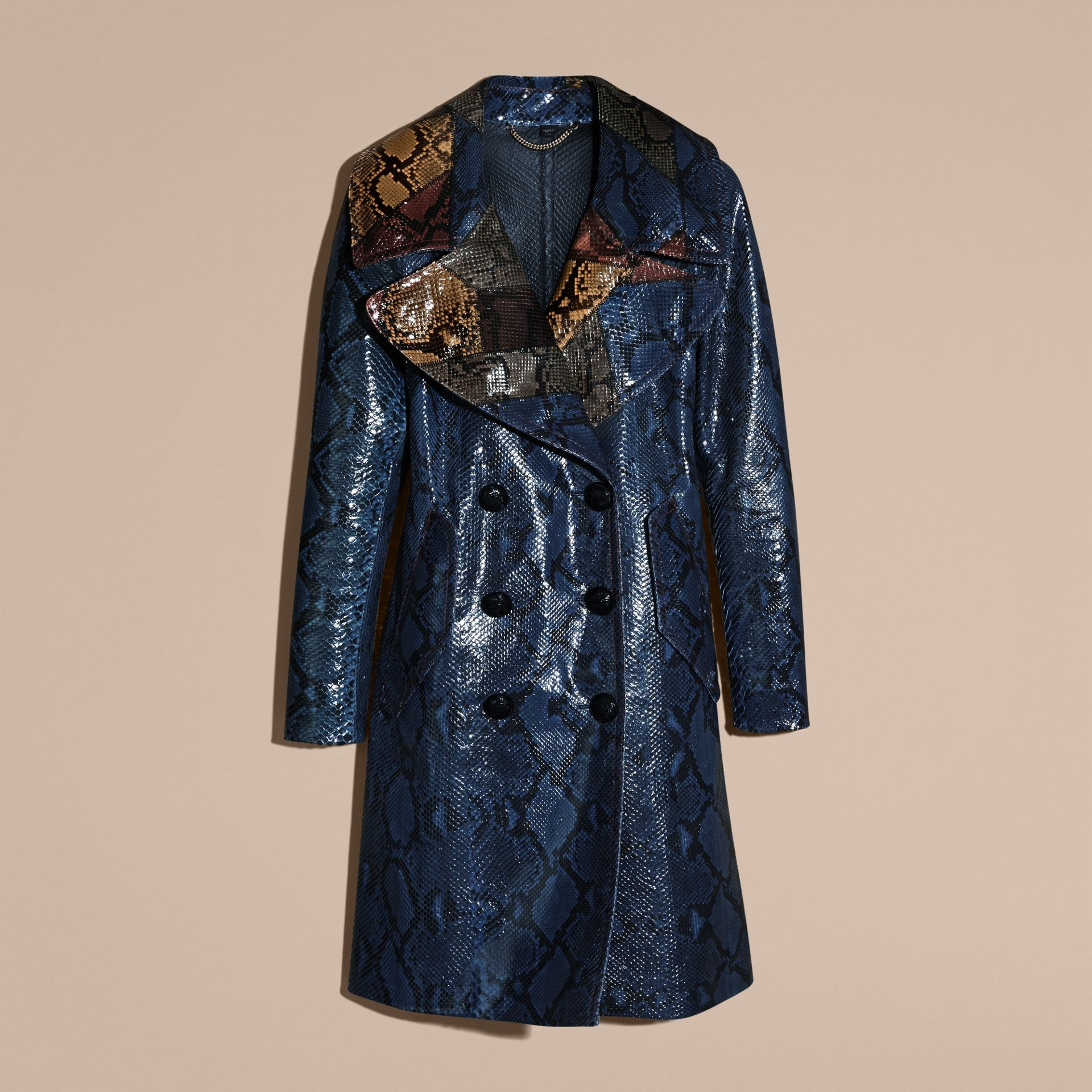 Mineral blue Regimental Glossy Python Coat - gallery image 4