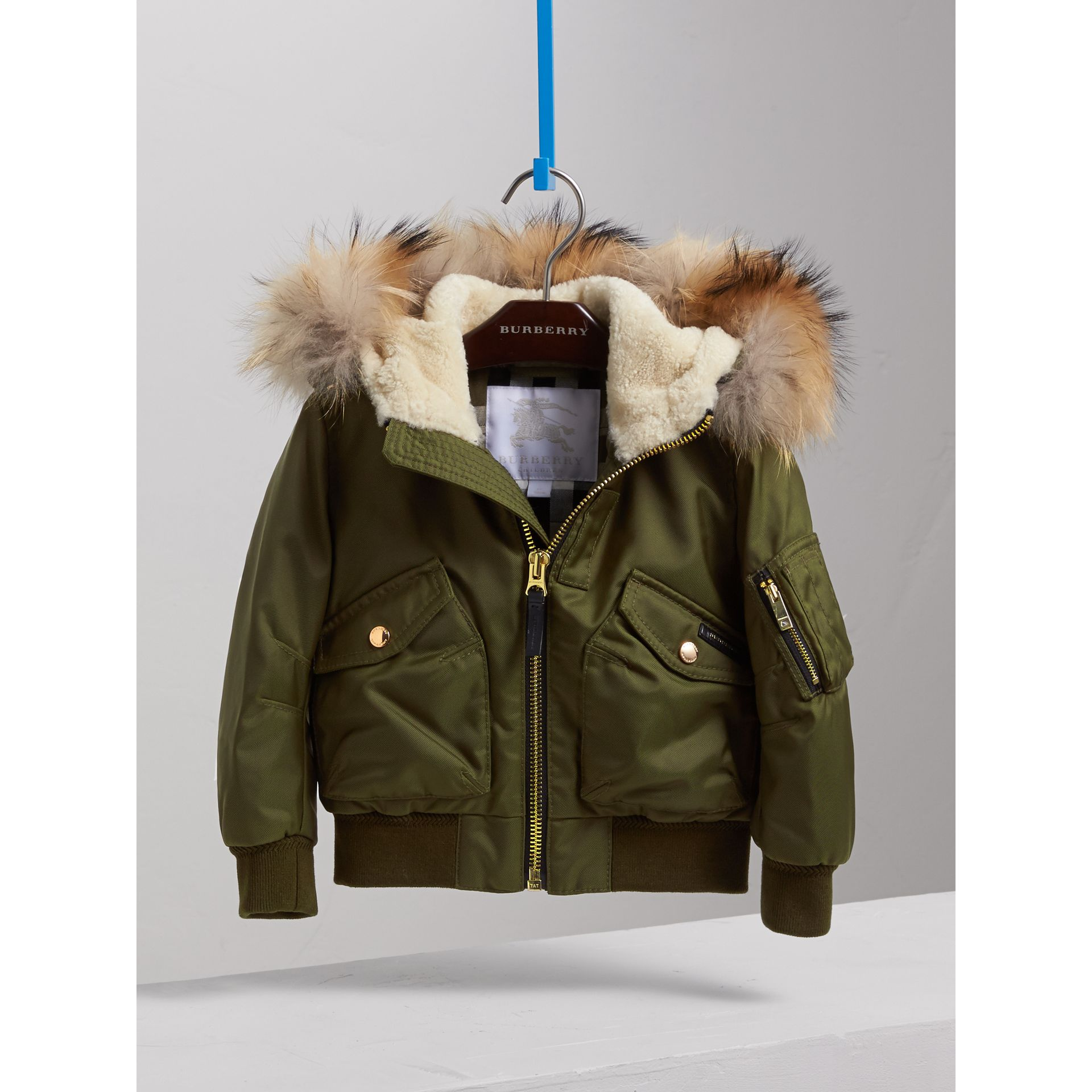 Detachable Fox Fur Trim Hood Technical Twill Bomber Jacket in Caper Green - Boy | Burberry - gallery image 2