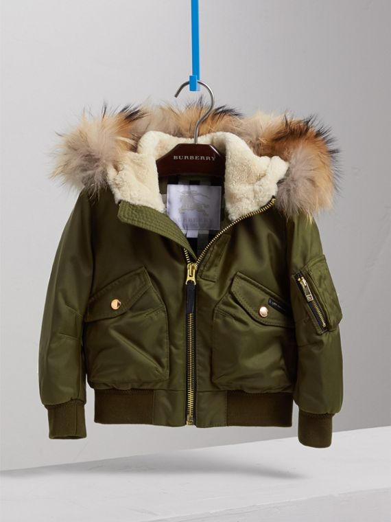 Detachable Fox Fur Trim Hood Technical Twill Bomber Jacket in Caper Green - Boy | Burberry - cell image 2