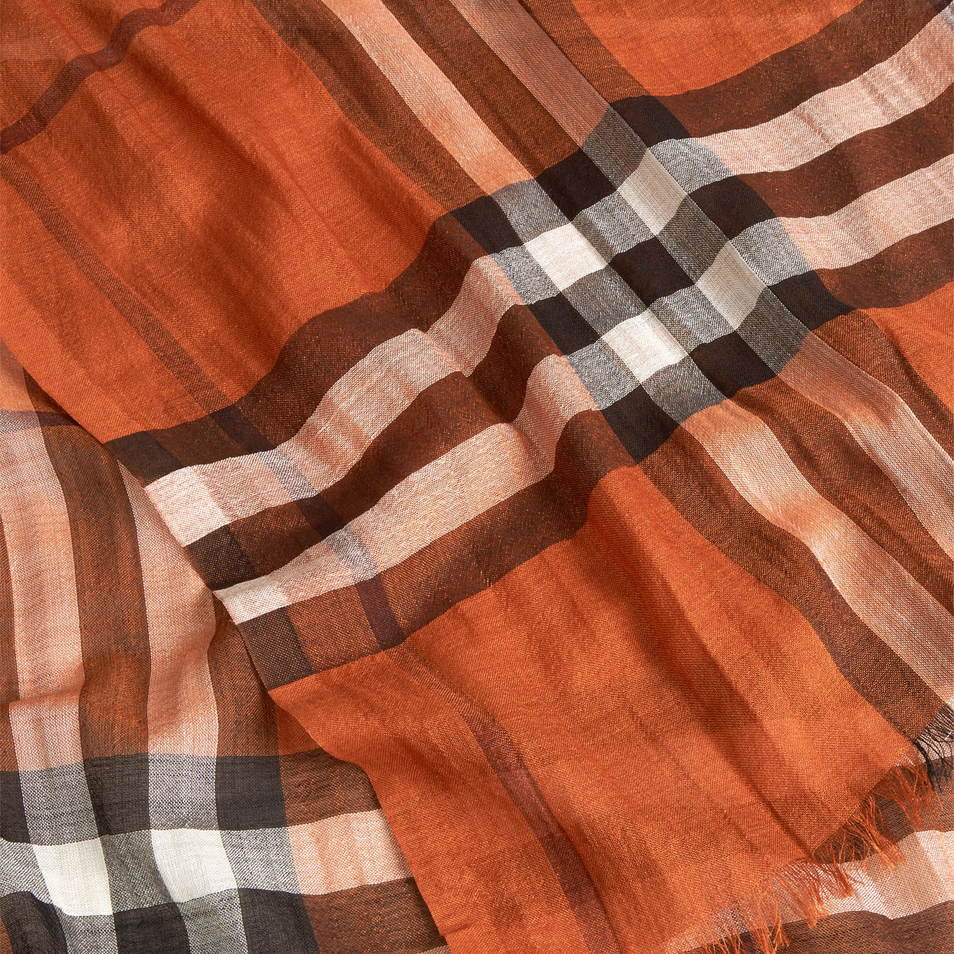 Burnt orange Lightweight Check Wool and Silk Scarf Burnt Orange - gallery image 2