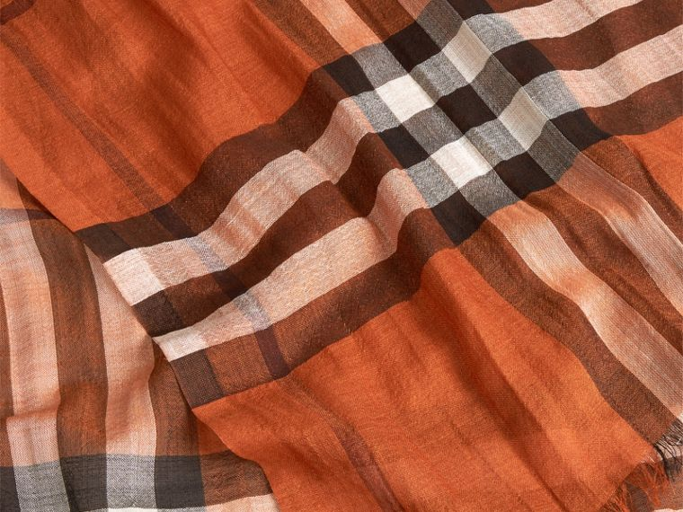 Burnt orange Lightweight Check Wool and Silk Scarf Burnt Orange - cell image 1